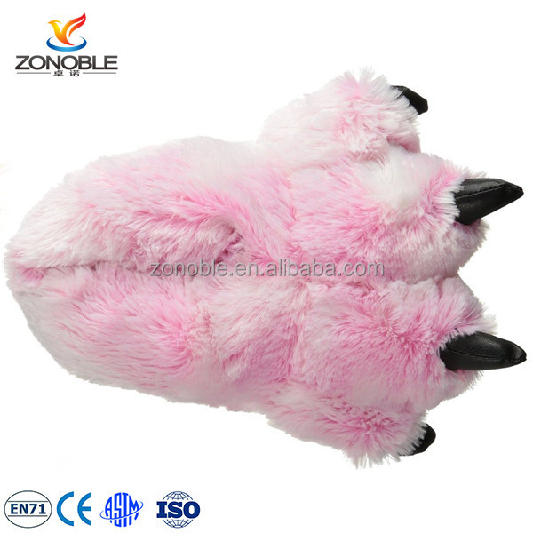 High quality children indoor slippers stuffed plush slipper claws
