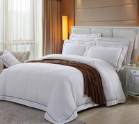 Cotton Plain White Embroidered Wholesale Luxury Hotel Bed Sheet