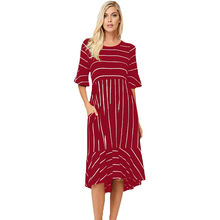 Red white striped evening dress for women