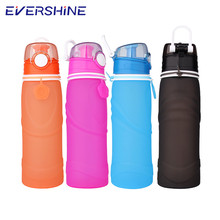 No bands outdoor sports leak proof 750ml collapsible silicone water bottle