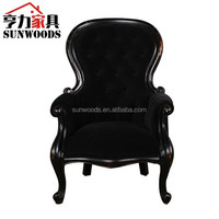 Carving Luxury Wooden fabric upholstery sofa chair living room furniture Antique style 1 seater fabric leisure arm sofa chair