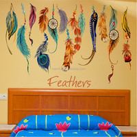 fantastic flying feathers wall stickers colorful room decorations creative gift home decals print mural art diy poster