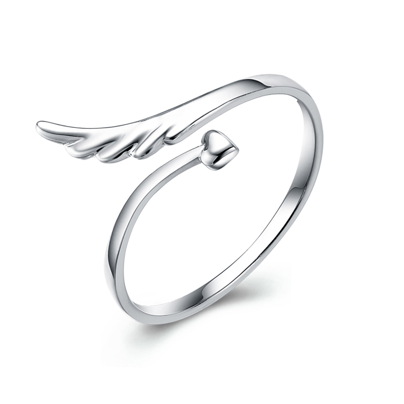 Wholesale fashion open ring jewelry 925 Sterling Silver wing and heart ring for girls