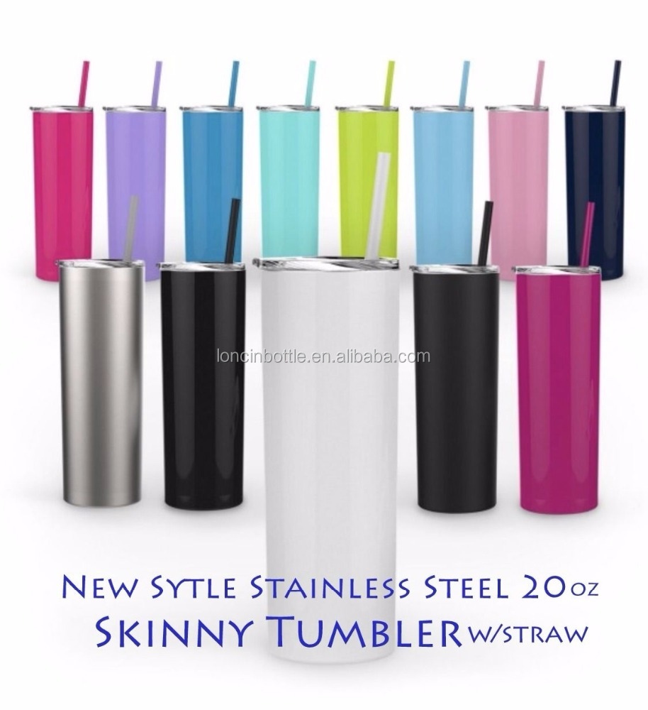 High Quality Stainless Steel Skinny Tumbler with BPA-Free Lid and Straw, High Vacuum Insulated straw tumbler