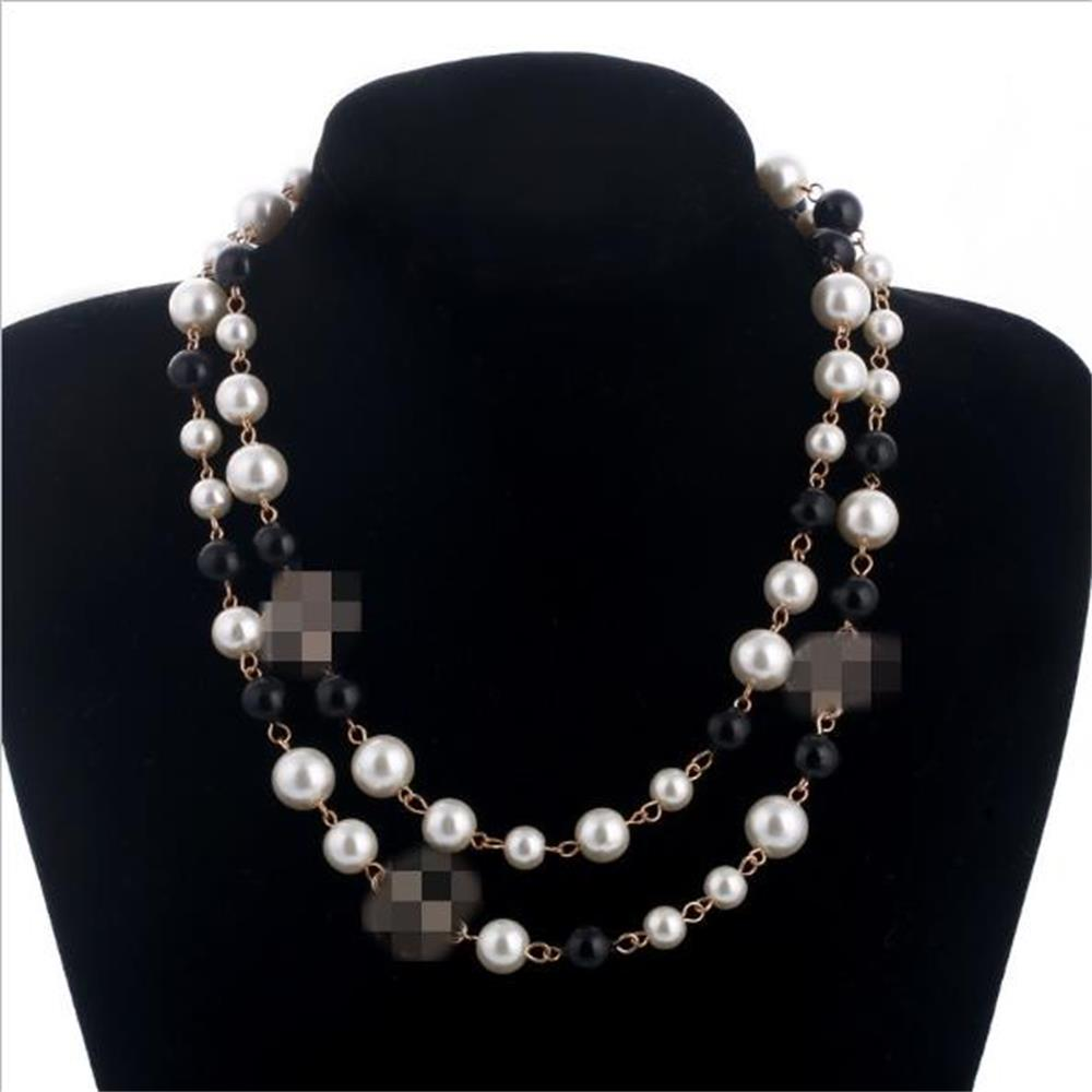 Long letter Pearl Necklace Double Layer Ladies Fashion Necklace