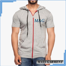 Custom Cotton Spandex T Shirt With Hood For Men Shirt With Zipper