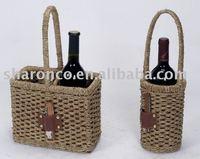 wicker wine basket,for one or two wine bottle,with bottle opener
