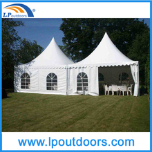Outdoor pyramid tent with transparent PVC windows