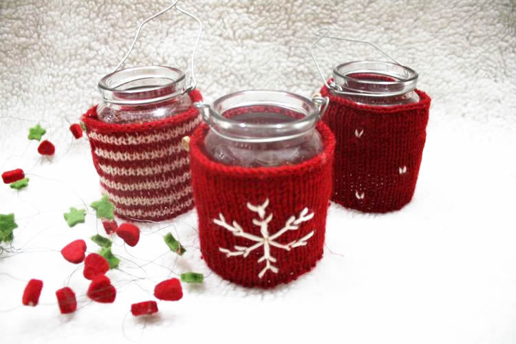 Christmas Acrylic knit cup cosy for mug sleeve set