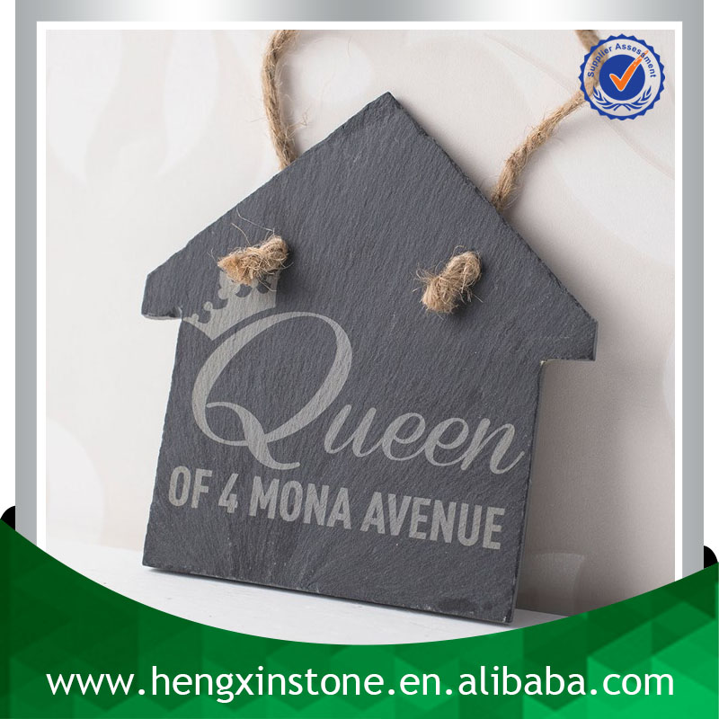 Promotion Handmade Hanging 12*11*0.5cm House Shape Slate Arts And Crafts (Customized Laser Design)