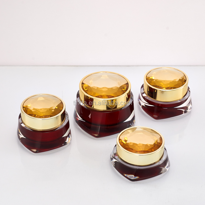 round red empty luxury diamond cream acrylic with lids ceramic cosmetic jars packaging jar acrylic cream jar cosmetic packagin