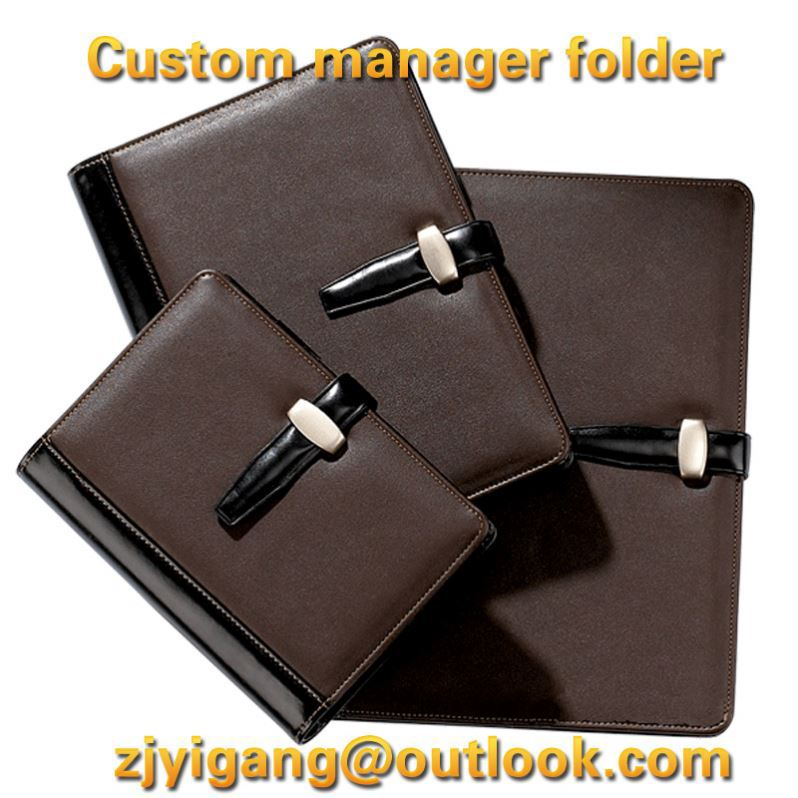 15028 PU leather folder Padfolio multifunction organizer planner notebook ring binder A4 file folder with calculator