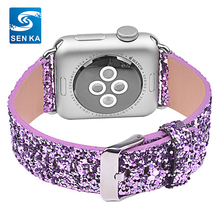 Leather Extreme Deluxe Shiny Bling Glitter Leather Bracelet Wristband Watch Strap for Apple Watch Series 1/2/3