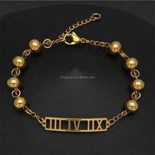 Free Sample Roman Numerals Stainless Steel Gold Small Bead Bracelets