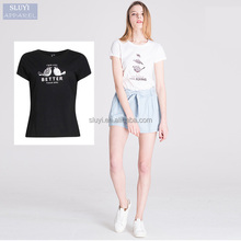 Hot sale style 2016 ladies summer classical animal printing cute young blank short sleeve t-shirt