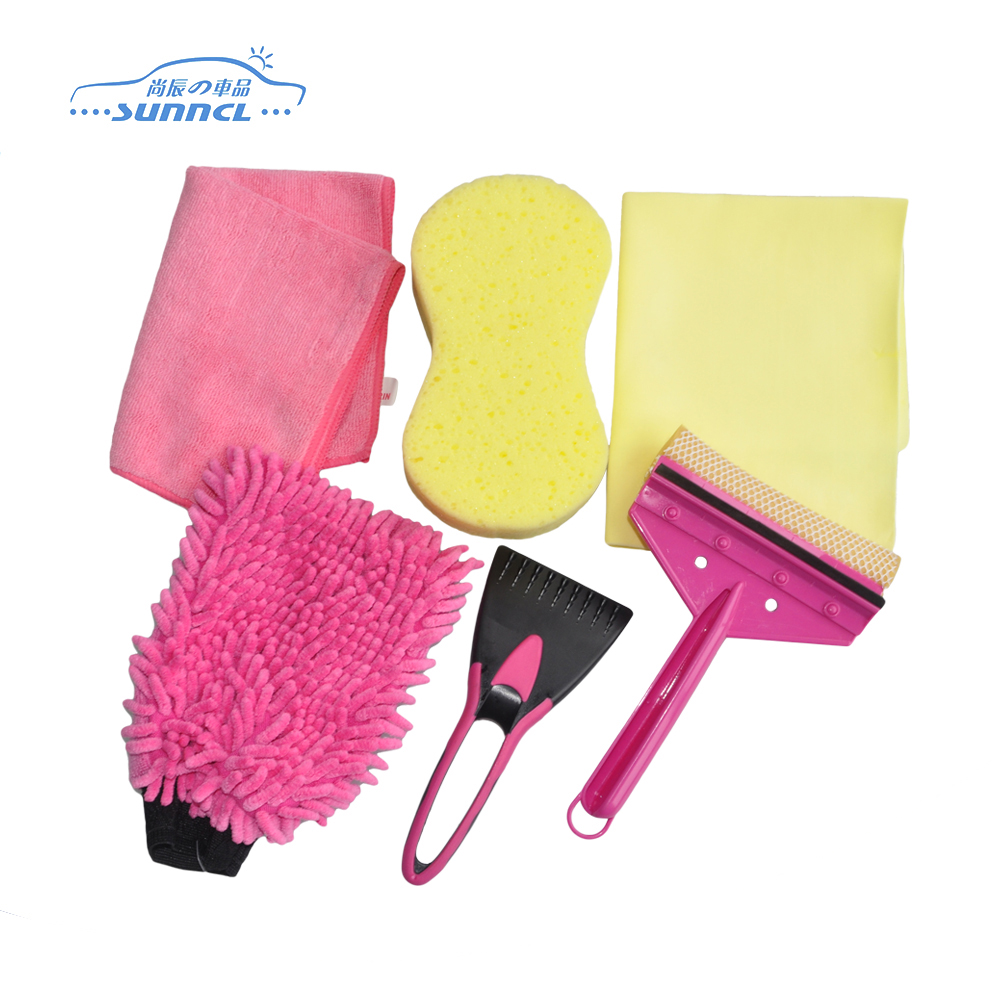 Sweet Pink Color 7 pcs Microfiber Towel for Car Cleaning , Car Washing Bag