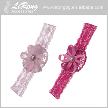 Wholesale flower elastic lace baby headbands