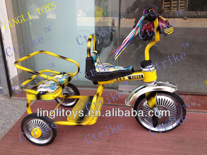 three wheel bicycle with two seats, kids tricycle with two seats product for two seats baby toy plastic tricycle of twins