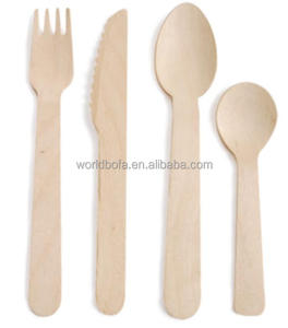 Disposable wooden disposable cutlery set dessert spoon sopa spoon fork and knife