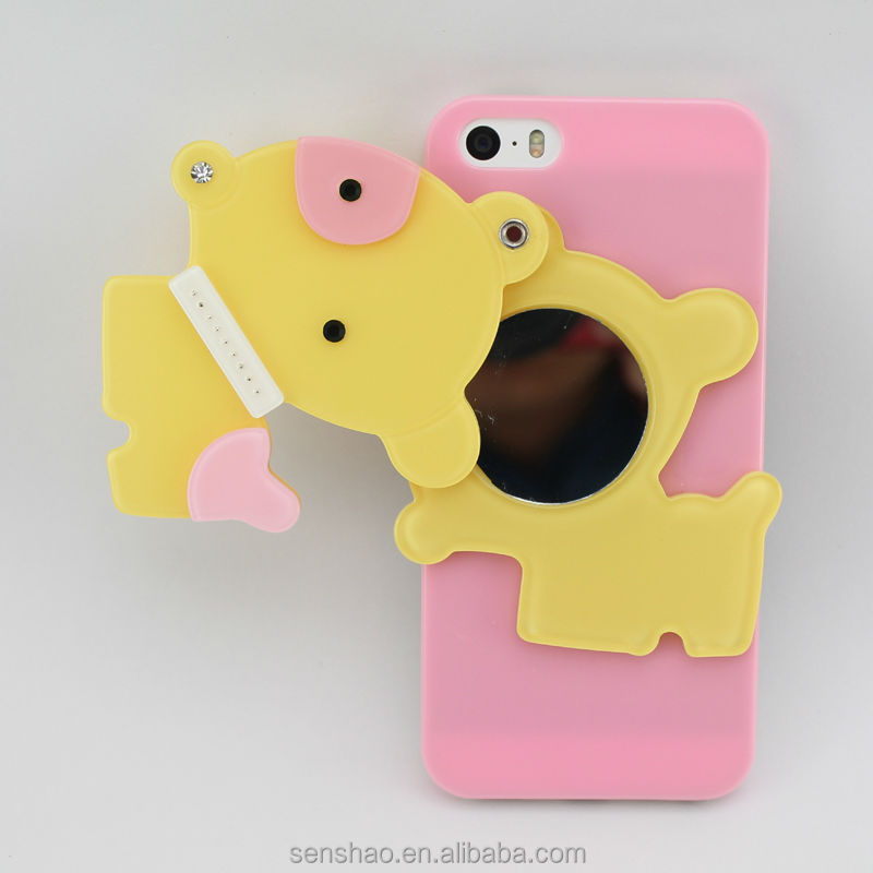 Well promotion ladies cosmetic phone case with mirror cartoon lovely horse hard PC mirror case for iphone 6