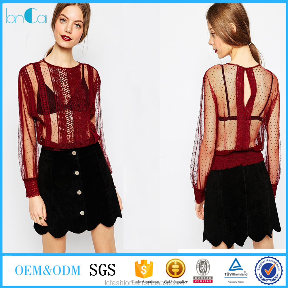 Blouse design patterns back neck 2017 new designs red color custom pleated lace women's blouse & tops
