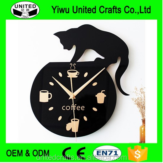 Creative Wall Clock Cat Climbing Coffee Kitchen Watch Modern Design Black 12""