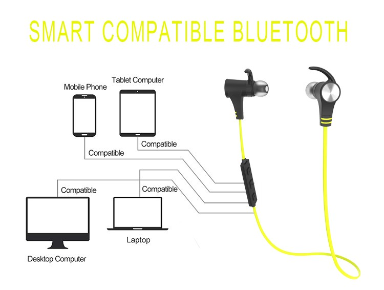 magnet stereo bluetooth headphone control power on or off built in mircophone