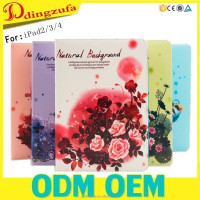 Customized Designs Stand TPU + PU Leather Case for ipad 2 3 4