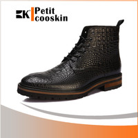 Real leather alligator martin boots casual dress long shoes for men