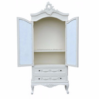 Amelia French Shabby Chic 2 Doors Mirrored Wardrobe Armoire Antique White