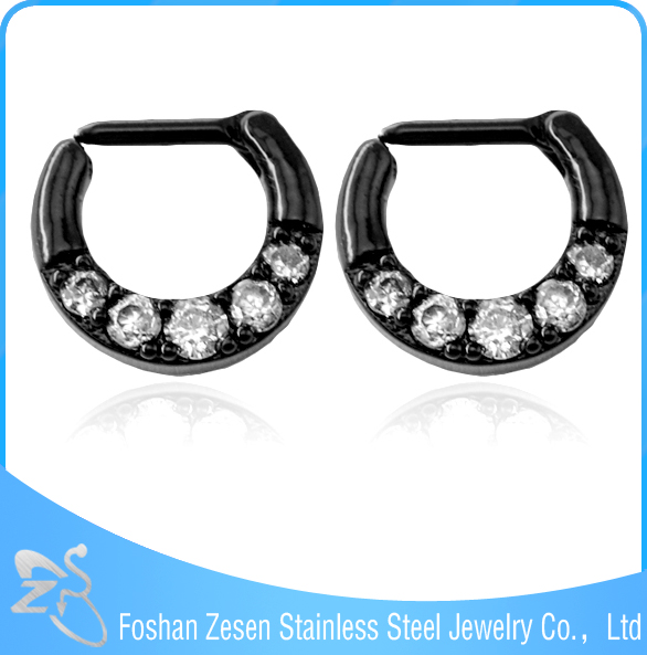 Newest Design Black Nose Piercing Jewelry Setting Zircon Fancy Nose Ring Jewelry