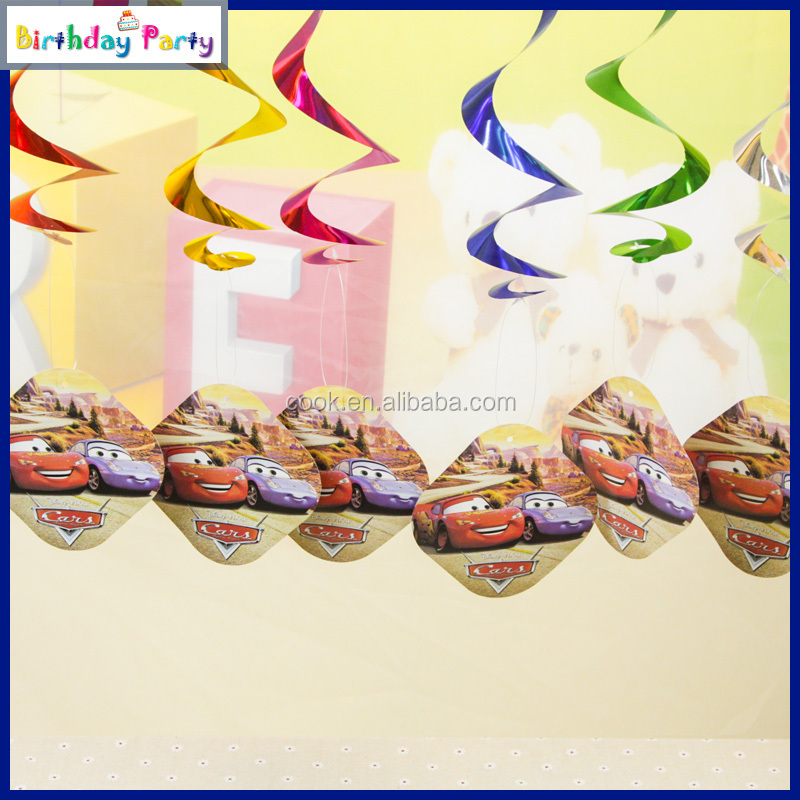 6pcs/bag Fashion Swirl Decoration Car Pattern Kid Paper Party Favors