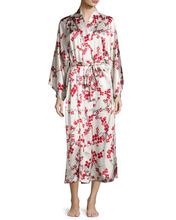 Women's Silk satin printed kimono Long Robe
