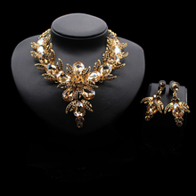 Crystal Rhinestones gold plated Alloy Metal wedding necklace set African jewelry set royal blue JS127-1