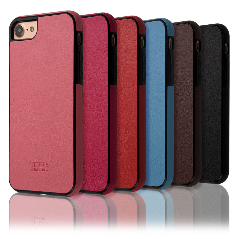 C&T Ultra-thin Leather Soft Case Electroplating Frame Back Protective Cover for iPhone 7