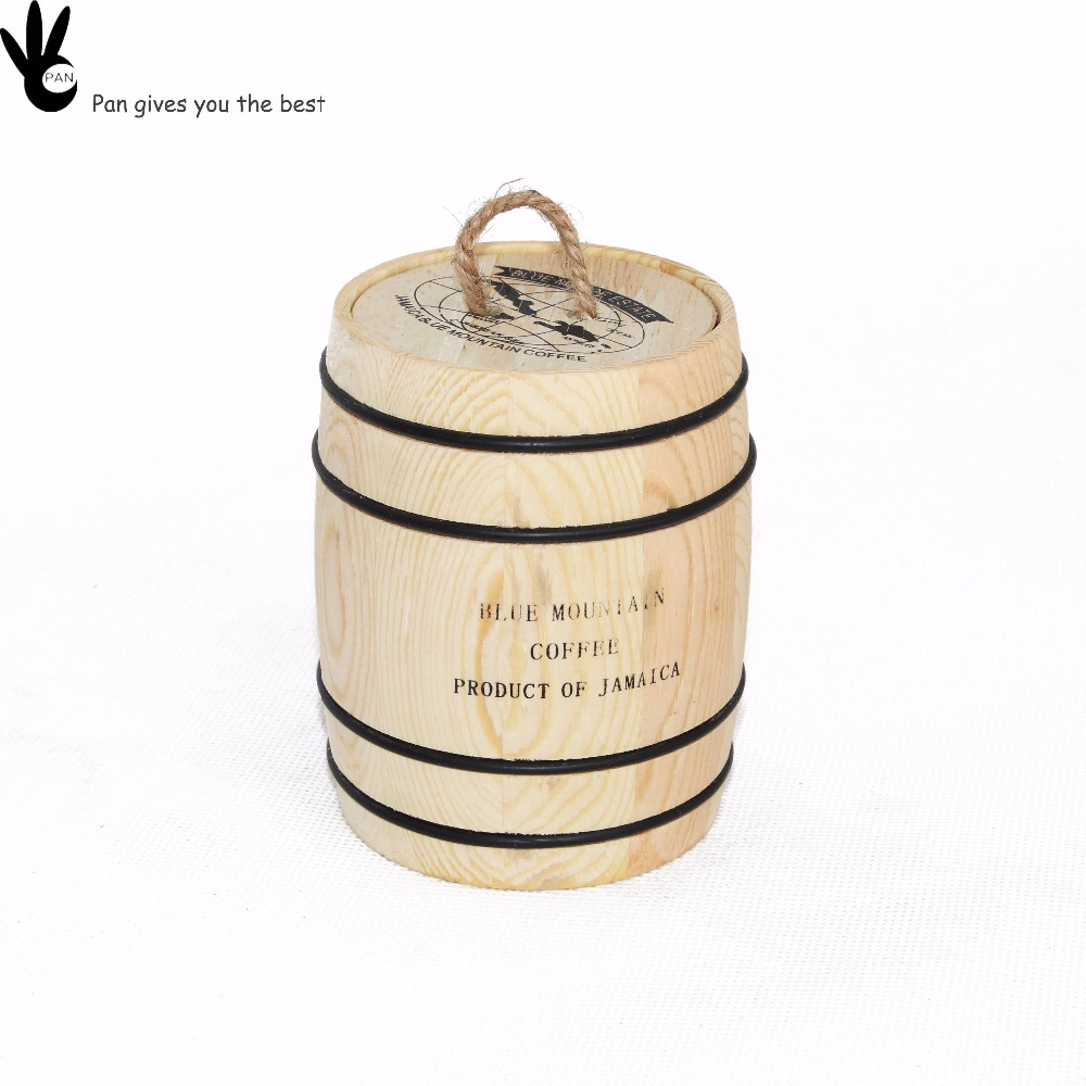 Hot sale customized gift vintage sealed coffee natural color wooden barrel