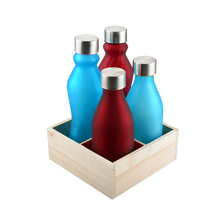 18OZ 500ML COLORED GLASS BOTTLE WITH SCREW METAL LID MILK WATER BOTTLE