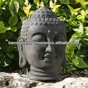 Antique Head Buddha Statue - Light Cement, Stone, Glazed Outdoor Buddha Statue