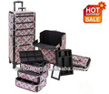 4 in 1 Pink Checker Design Professional Rolling Trolley Makeup Case RZ-A013D