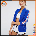 New arrival custom college varsity white sleeve blue zipper women bomber jacket