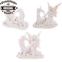 polyresin white flower fairy figurine with unicorn
