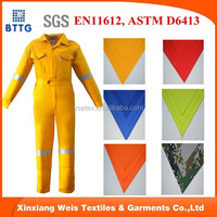 EN531 Hi vis yellow aramid 3A heat resistant fire retardant safety coverall