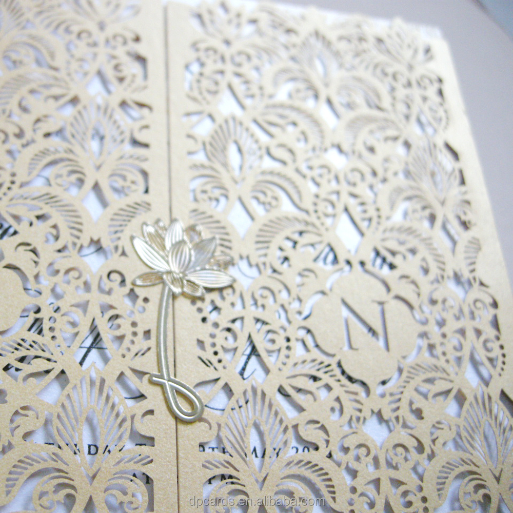 Wholesale laser cut and foil invitation,indian wedding card invitation arabe with cheap price
