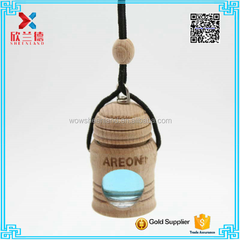 5ml hanging car air freshener perfume diffuser glass bottle with wooden coat