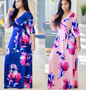Wholesale Fashion Women Plus Size Maxi Print Dress Long High Quality Summer Beach Chiffon Party Dress