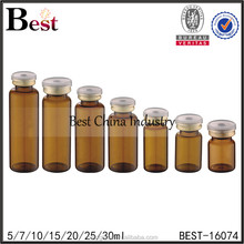 5ml 10ml amber glass vial short serum bottle with rubber stopper and flip off cap 10ml medicine sterile vial free sample China