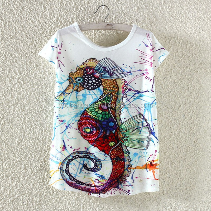 18 summer crew neck sea horse print woman shirt