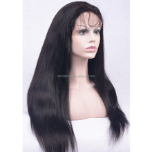 100%virgin human hair natural color silky straight wave full lace wigs with baby hair