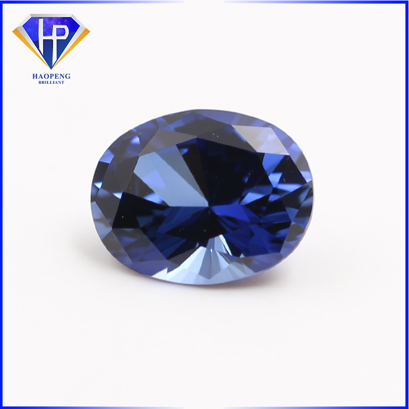 High Quality Kashmir Blue Sapphire #33 Oval Brilliant Cut 57 Facets Synthetic Corundum Gemstone