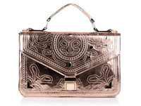 2014 newest design high end fashion hollow out metallic pu leather shoulder bag for lady